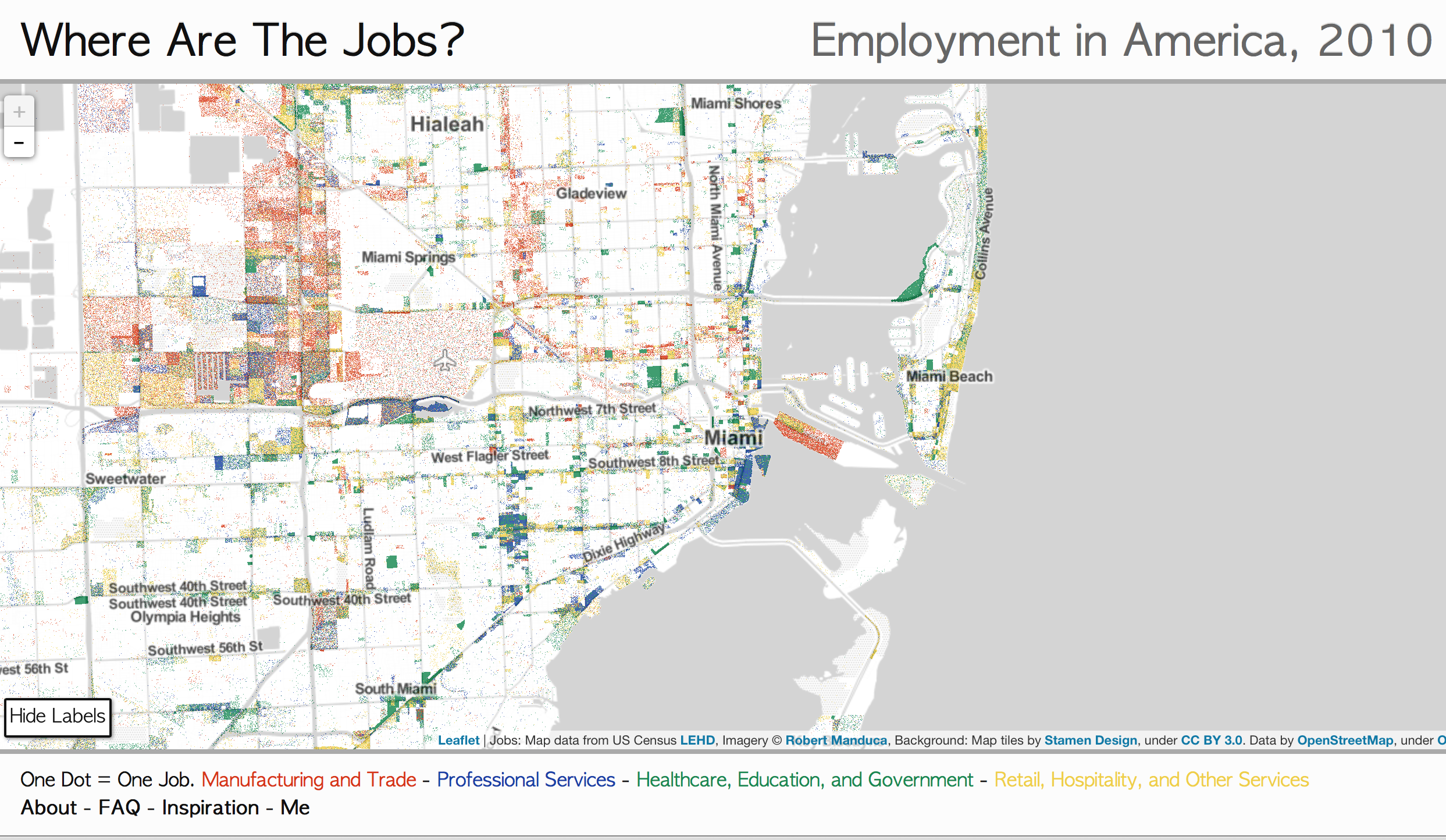Interactive Map Shows the Location of Most Jobs in the US