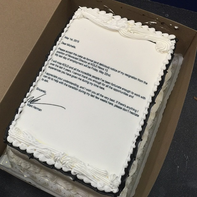 Man Quits Job by Printing Resignation Letter on a Cake