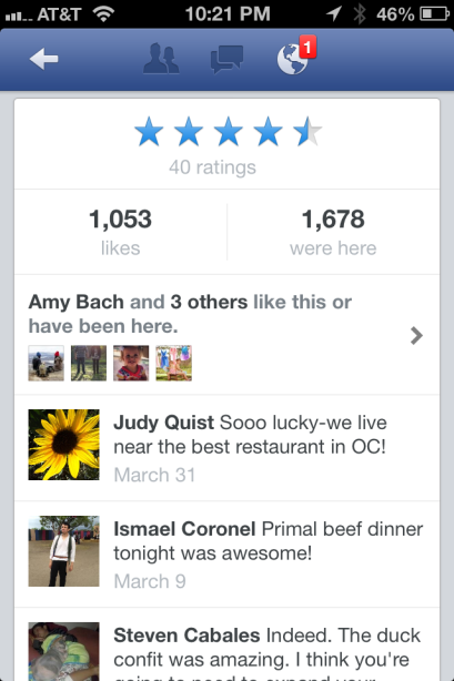 Facebook mobile Pages now include a star rating