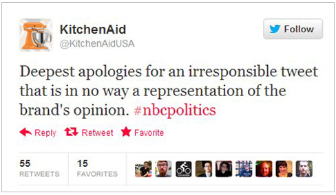 Kitchen Aid Tweet Apology