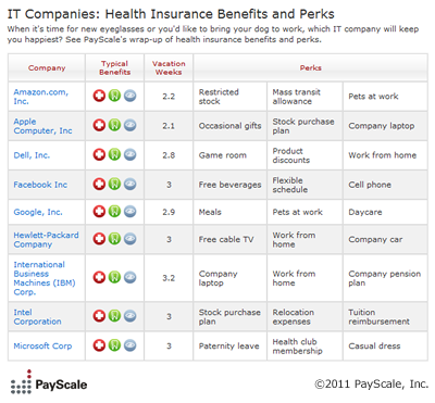 IT Companies: Health Insurance Benefits and Perks