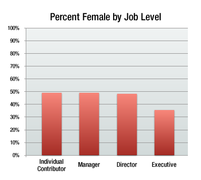 percentage female by job level